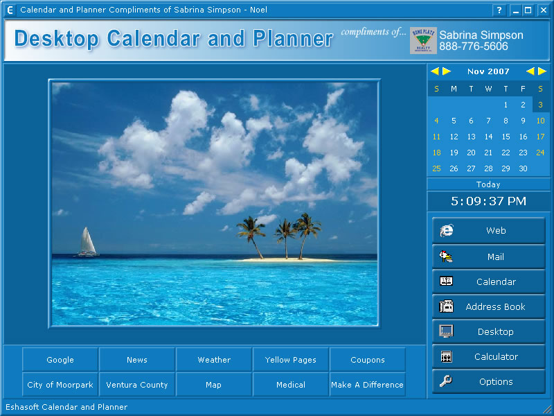 Desktop Calendar Scheduler : Eshasoft makers of desktop calendar software